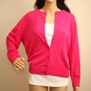 NEW Cynthia Rowley Hot Pink Cardigan Sweater XL